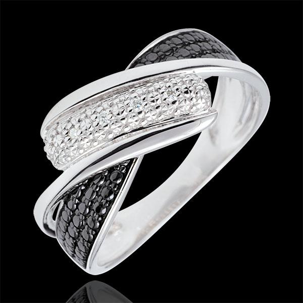 Pierścionek Światłocień - Ruch - białe diamenty - złoto białe 9-karatowe