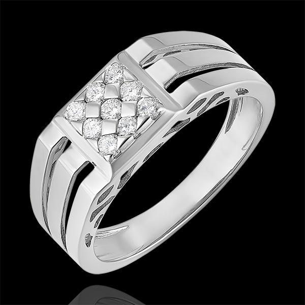 Pierścionek Światłocień - Sygnet ażurowy z diamentami - 9 karatowe białe złoto i diamenty