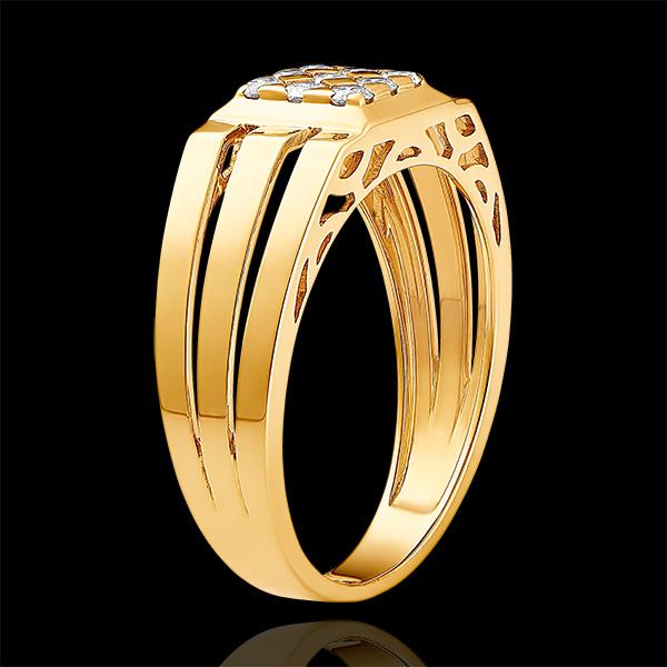 Pierścionek Światłocień - Sygnet ażurowy z diamentami - 9 karatowe żółte złoto i diamenty