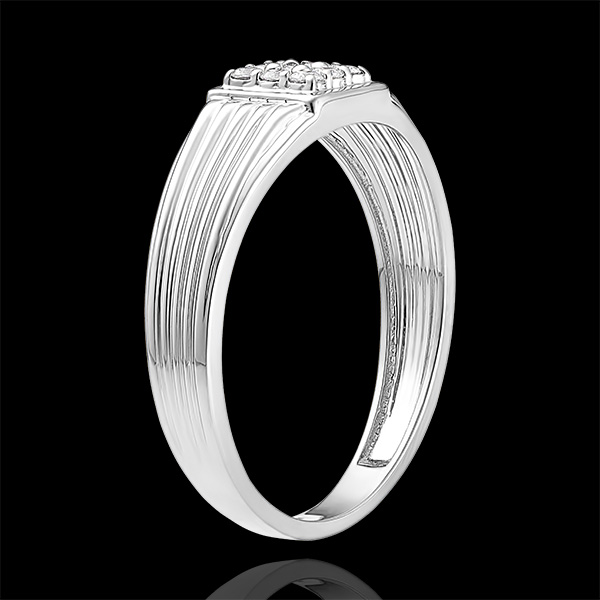Pierścionek Światłocień - Sygnet z diamentami - 9 karatowe białe złoto i diamenty