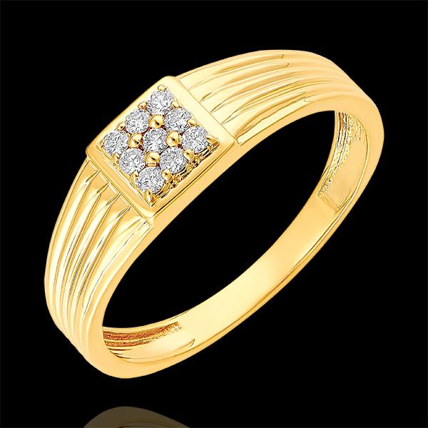Pierścionek Światłocień - Sygnet z diamentami - 9 karatowe żółte złoto i diamenty