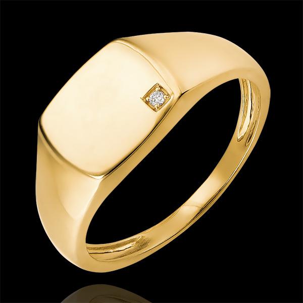 Pierścionek Światłocień - Sygnet Eneasz - 18 karatowe żółte złoto i diament