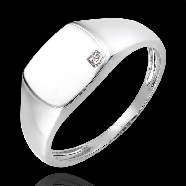 Pierścionek Światłocień - Sygnet Eneasz - 9 karatowe białe złoto i diament