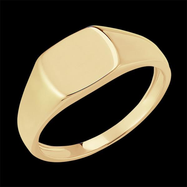 Pierścionek Światłocień - Sygnet Eneasz - 9 karatowe żółte złoto