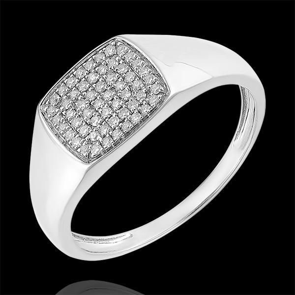 Pierścionek Światłocień - Sygnet Eneasz z diamentami - 9 karatowe białe złoto i diamenty