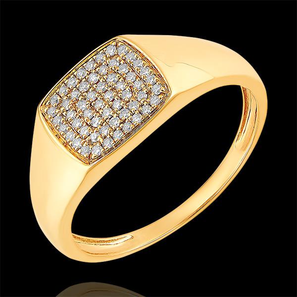 Pierścionek Światłocień - Sygnet Eneasz z diamentami - 9 karatowe żółte złoto i diamenty