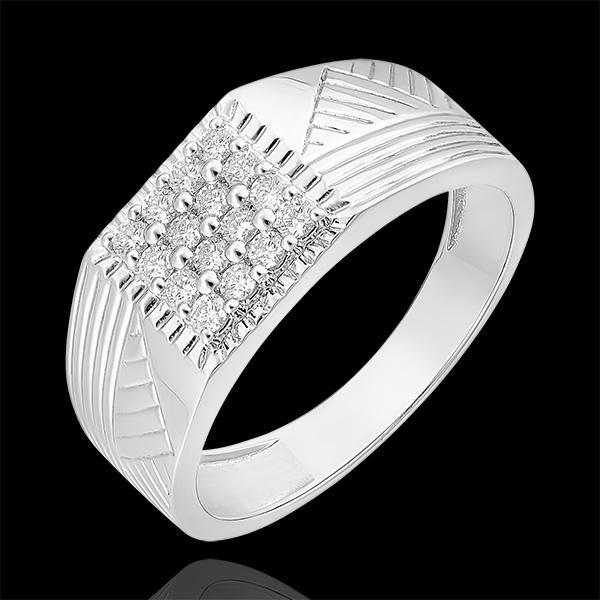 Pierścionek Światłocień - Sygnet grawerowany - 18 karatowe białe złoto i diamenty
