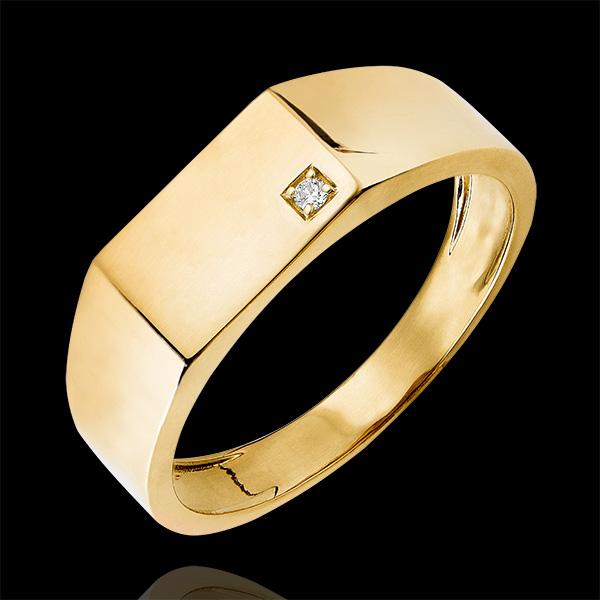 Pierścionek Światłocień - Sygnet Hektor - 9 karatowe żółte złoto i diamenty