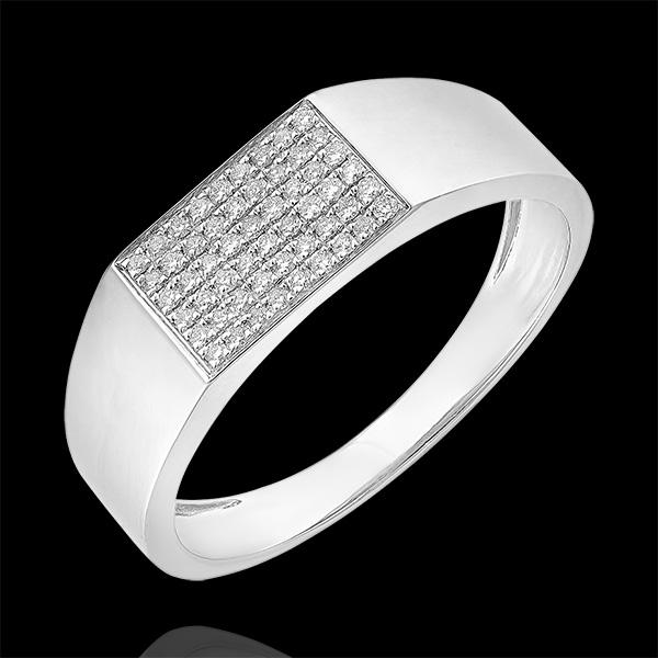 Pierścionek Światłocień - Sygnet Hektor z diamentami - 9 karatowe białe złoto i diamenty