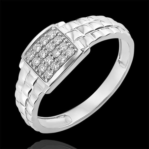 Pierścionek Światłocień - Sygnet z oczkami - 9 karatowe białe złoto i diamenty