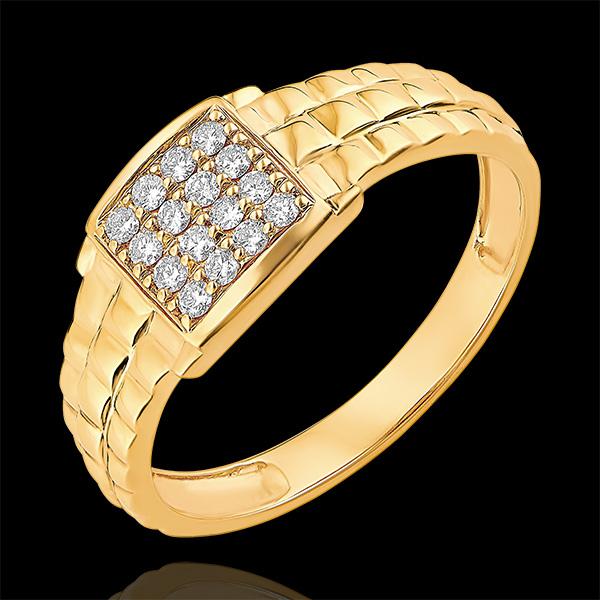 Pierścionek Światłocień - Sygnet z oczkami - 9 karatowe żółte złoto i diamenty