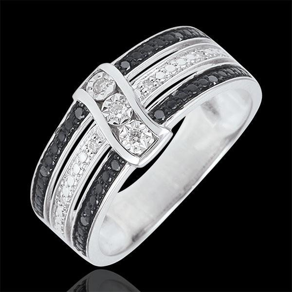 Pierścionek Światłocień - Zmierzch - złoto białe 9-karatowe, białe i czarne diamenty