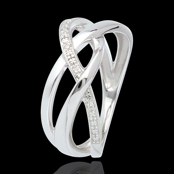 Pierścionek Świetlik z białego złota 18-karatowego wysadzany diamentami