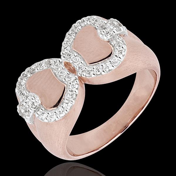 Pierścionek Świeżość - Jabłko Miłości - złoto białe i złoto różowe 18-karatowe