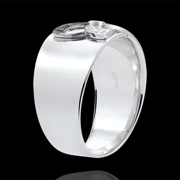 Pierścionek Świeżość - Letnia Lilia - złoto białe 18-karatowe i czarne diamenty