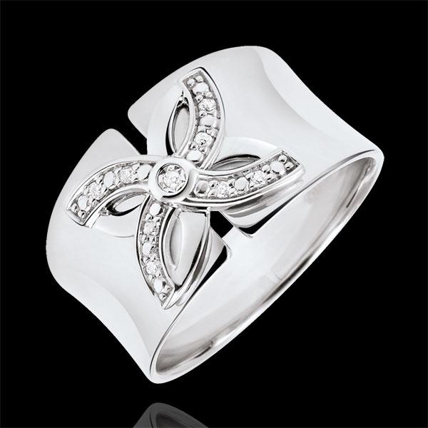 Pierścionek Świeżość - Letnia Lilia - złoto białe 18-karatowe i diamenty