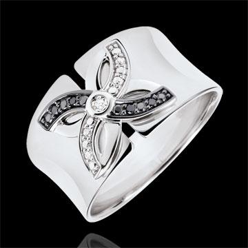 Pierścionek Świeżość - Letnia Lilia - złoto białe 9-karatowe i czarne diamenty