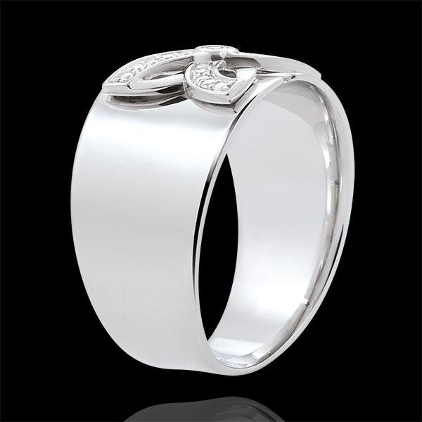 Pierścionek Świeżość - Letnia Lilia - złoto białe 9-karatowe i diamenty