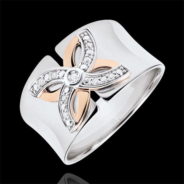 Pierścionek Świeżość - Letnia Lilia - złoto białe i złoto różowe 18-karatowe