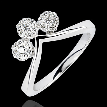 Pierścionek Świeżość – Sadzonki – białe złoto 9-karatowe i diamenty