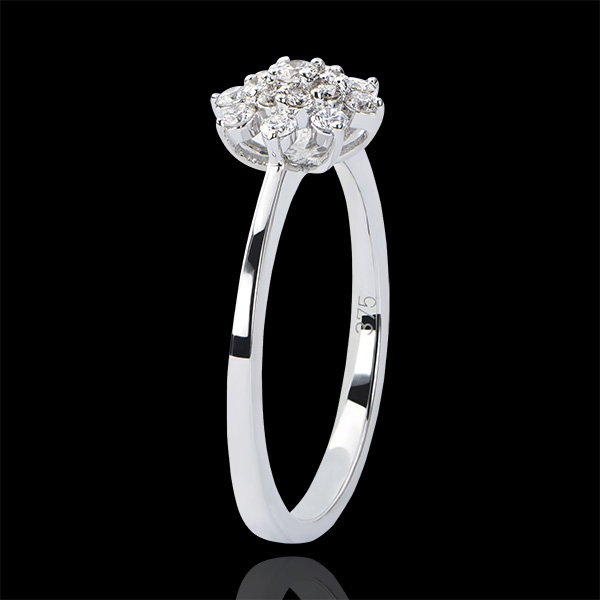 Pierścionek Świeżość – Szarotka – białe złoto 9-karatowe z diamentami