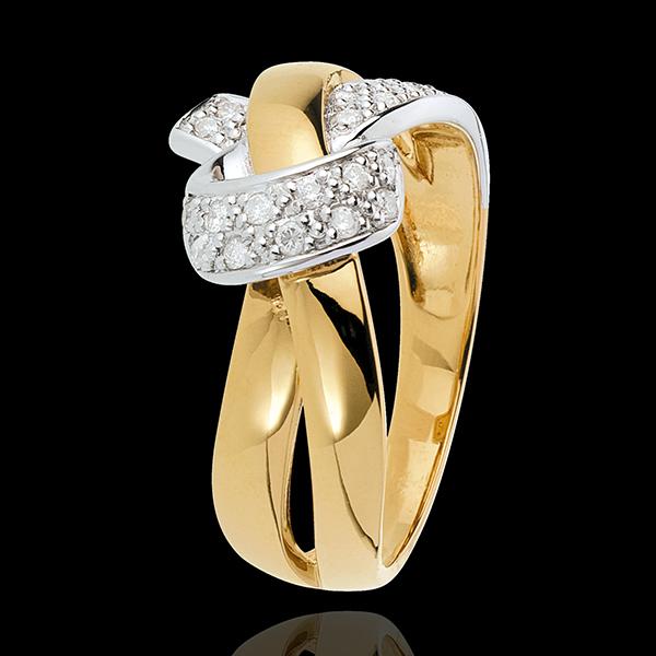 Pierścionek Szczery Węzeł - złoto białe i złoto żółte 18-karatowe