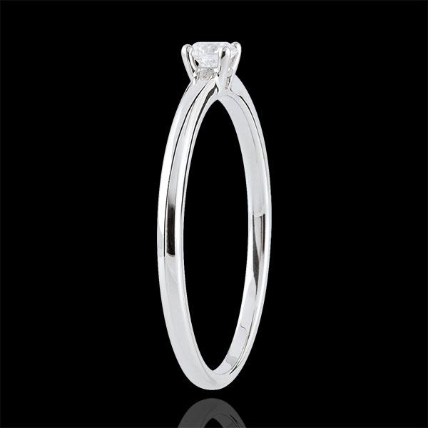 Pierścionek Tak z jednym diamentem - 0,1 karata - złoto białe 9-karatowe