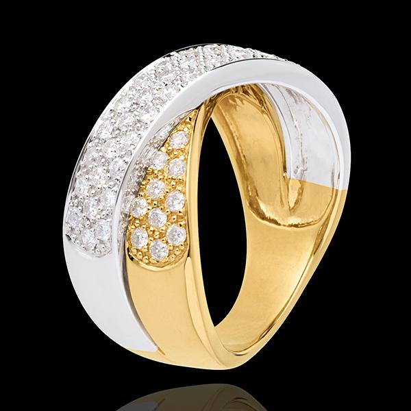 Pierścionek Tandem wysadzany diamentami - 0,8 karata - 57 diamentów - złoto białe i złoto żółte 18-karatowe