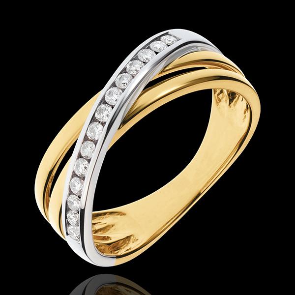 Pierścionek Triaz - złoto białe i złoto żółte 18-karatowe