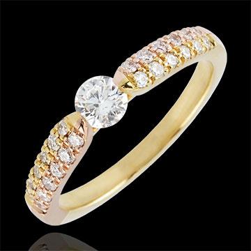 Pierścionek Triumf z jednym diamentem - złoto żółte i złoto różowe 9-karatowe - 0,25 karata