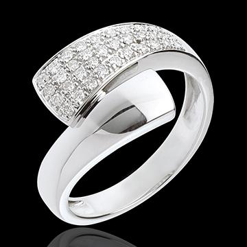 Pierścionek Tropik z białego złota 18-karatowego wysadzany diamentami - 0,26 karata - 34 diamenty