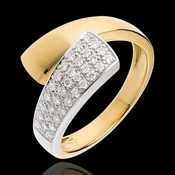Pierścionek Tropik wysadzany diamentami - 34 diamenty 0,26 karata - złoto białe i złoto żółte 18-karatowe