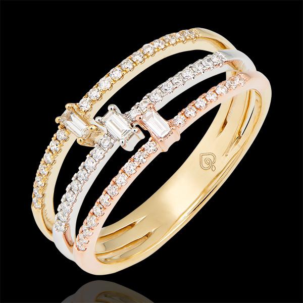 Pierścionek Trylogia - trzy rodzaje złota 18-karatowego wysadzane diamentami