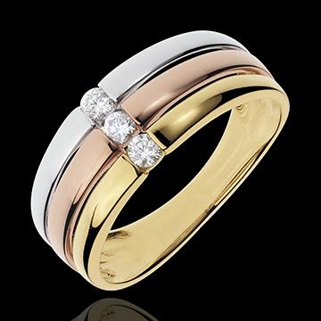 Pierścionek Trynidad z potrójnym diamentem - trzy rodzaje złota - 0,16 karata - trzy rodzaje złota 18-karatowego