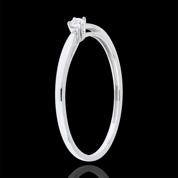 Pierścionek Trzcina z jednym diamentem - 0,04 karata - złoto białe 18-karatowe
