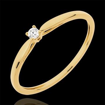 Pierścionek Trzcina z jednym diamentem - 0,04 karata - złoto żółte 18-karatowe