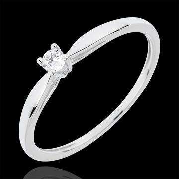 Pierścionek Trzcina z jednym diamentem - 0,07 karata - złoto białe 18-karatowe