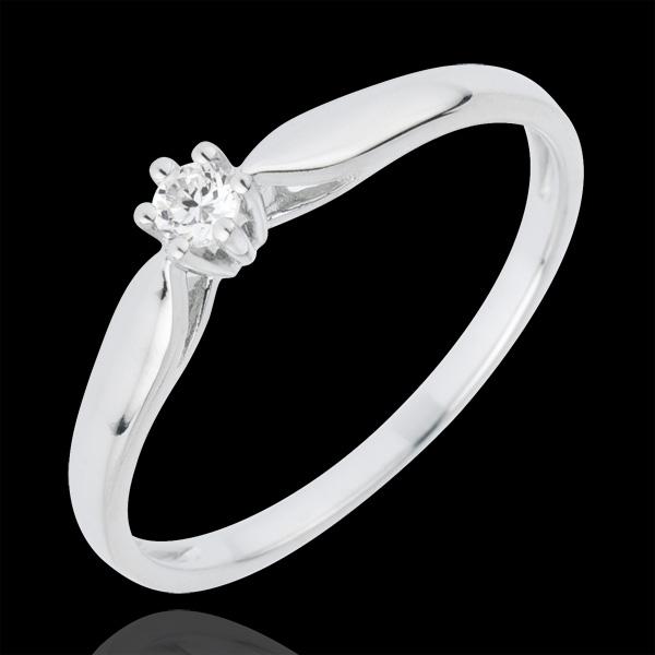 Pierścionek Trzcina z jednym diamentem - 6 krap - 0,07 karata - złoto białe 18-karatowe