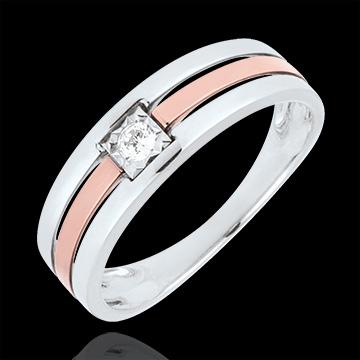 Pierścionek z trzema rzędami diament 0,062 karata - złoto białe i złoto różowe 18-karatowe