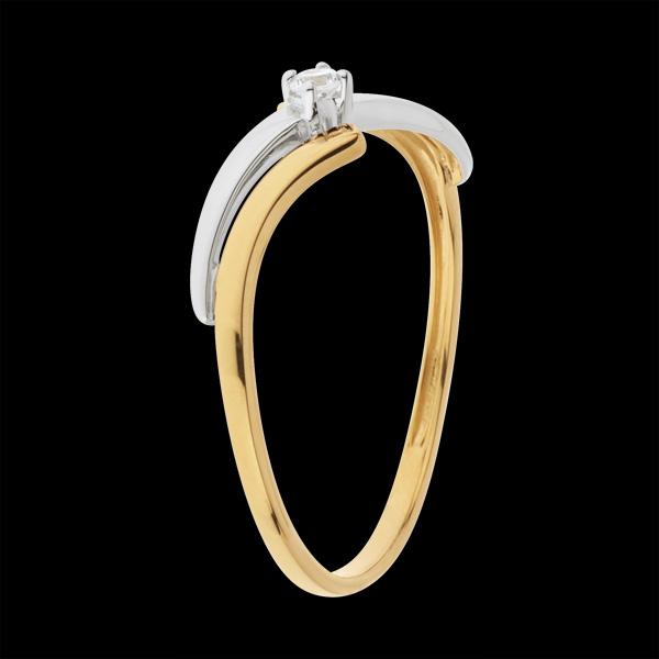 Pierścionek Ucieczka z jednym diamentem - diament 0,04 karata - złoto białe i złoto żółte 18-karatowe