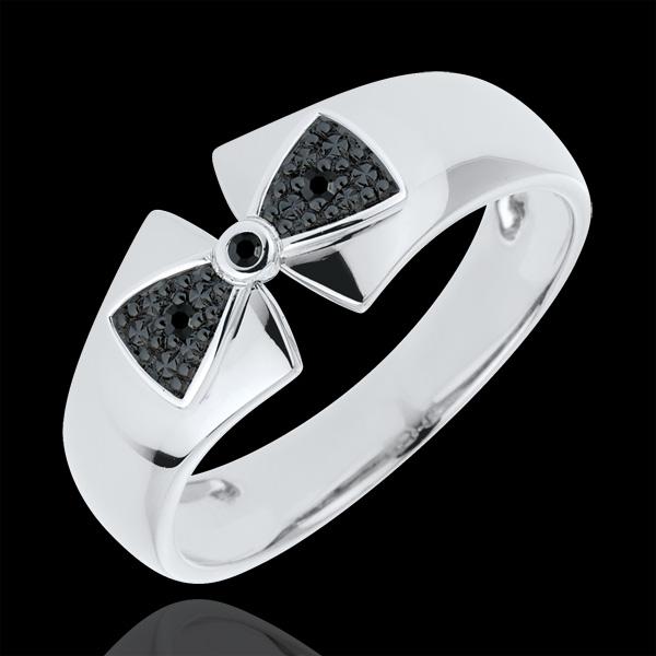 Pierścionek węzeł Amelia z białego złota 9-karatowego i czarnych diamentów