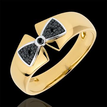 Pierścionek węzeł Amelia z żółtego złota 18-karatowego i czarnych diamentów