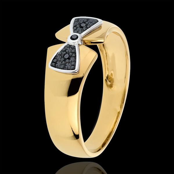 Pierścionek węzeł Amelia z żółtego złota 9-karatowego i czarnych diamentów