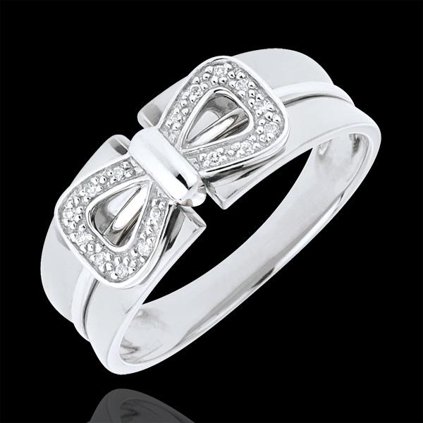 Pierścionek Węzeł Gorsetowy z białego złota 18-karatowego