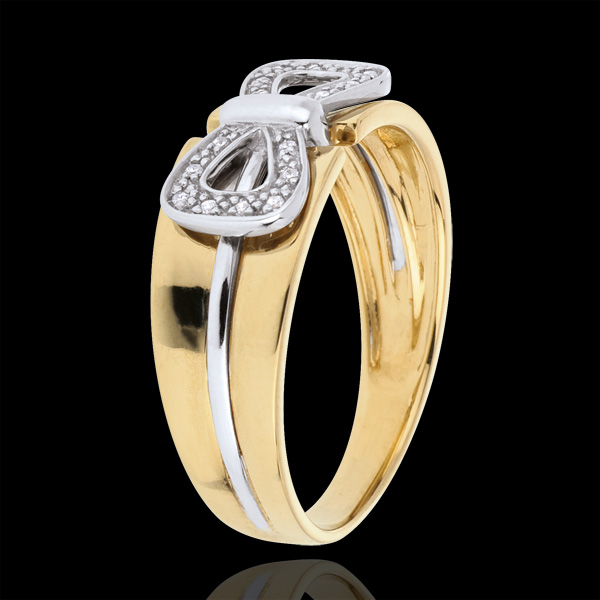 Pierścionek Węzeł Gorsetowy - złoto białe i złoto żółte 9-karatowe