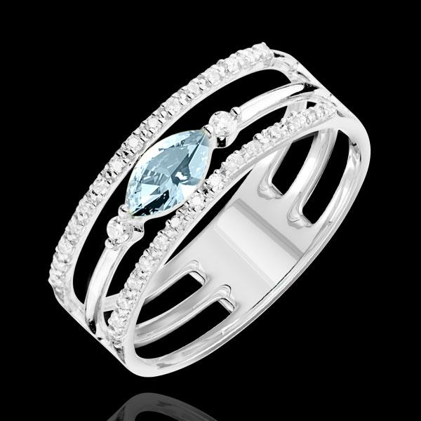 Pierścionek Wschodnie Spojrzenie - duży model - niebieski topaz i diamenty - złoto białe 9-karatowe