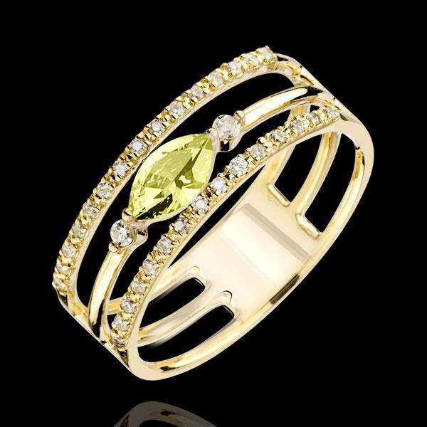 Pierścionek Wschodnie Spojrzenie - duży model - perydot i diamenty - złoto żółte 9-karatowe