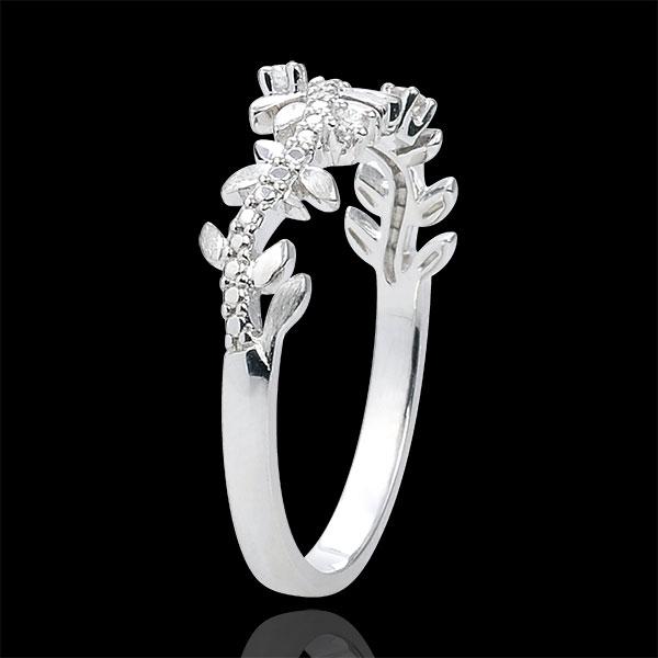 Pierścionek Zaczarowany Ogród - Królewskie Liście - diament i białe złoto 18-karatowe