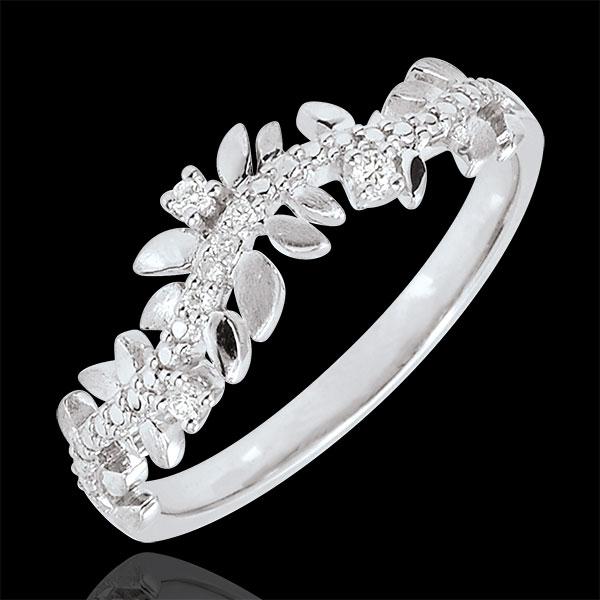 Pierścionek Zaczarowany Ogród - Królewskie Liście - diament i białe złoto 9-karatowe