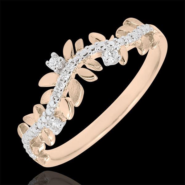 Pierścionek Zaczarowany Ogród - Królewskie Liście - diament i różowe złoto 9-karatowe